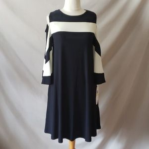Navy White Cold Shoulder Dress